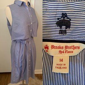 Brooks Bothers Shirt Dress Blue white stripe Sz 14
